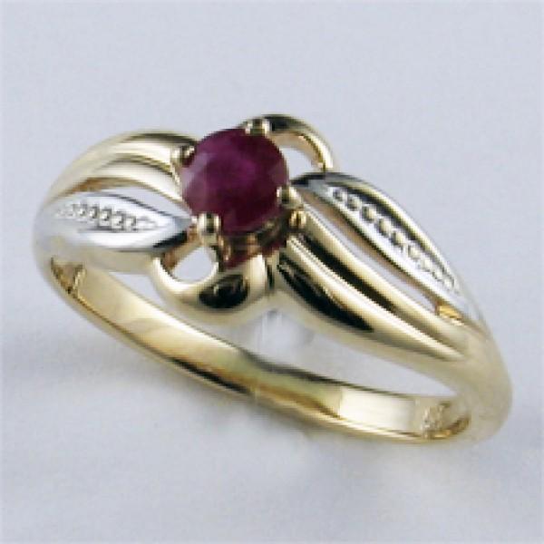 Ювелирное кольцо из красного золота 585 пробы с рубином RR-6055