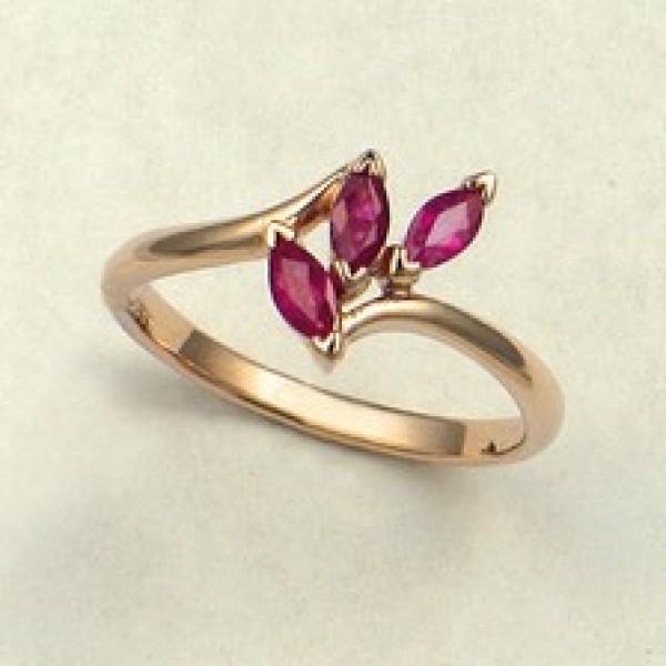 Ювелирное кольцо из красного золота 585 пробы с рубинами RR-6012