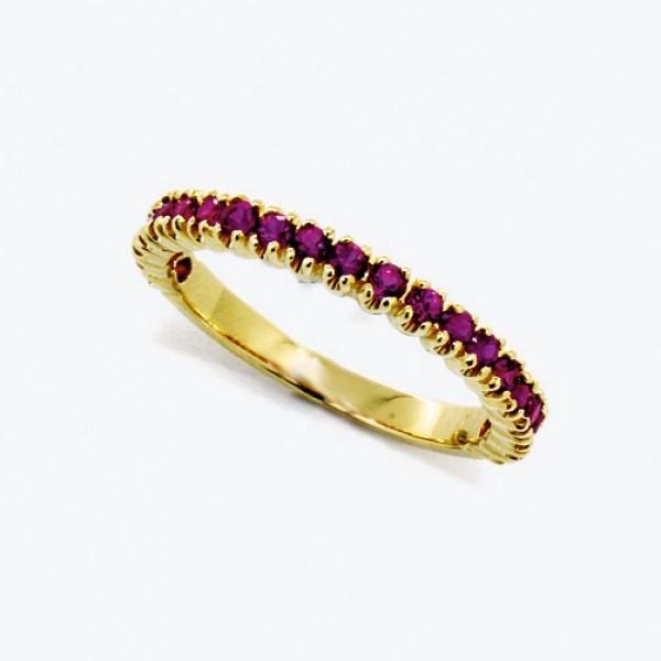 Ювелирное кольцо из красного золота 585 пробы с рубинами RR-15011