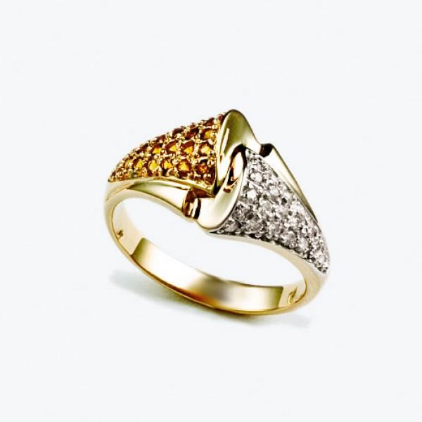 Ювелирное кольцо из красного золота 585 пробы с цитринами и бриллиантами RCt-6450