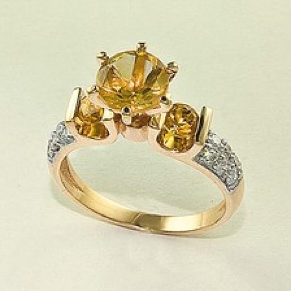 Ювелирное кольцо из красного золота 585 пробы с цитринами и бриллиантами RCt-6502