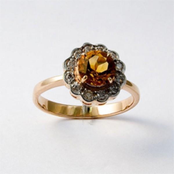 Ювелирное кольцо из красного золота 585 пробы с цитрином и бриллиантами RCt-6287