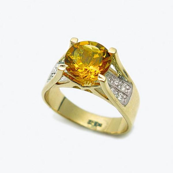 Ювелирное кольцо из красного золота 585 пробы с цитрином и бриллиантами RCt-6573