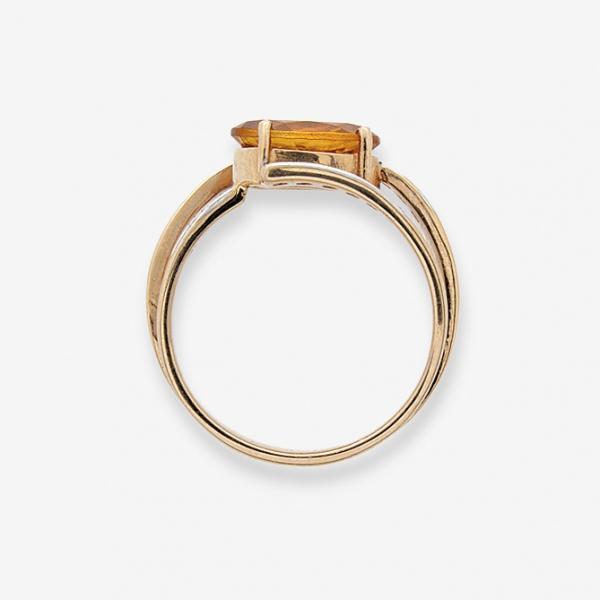 Ювелирное кольцо из красного золота 585 пробы с цитрином и бриллиантами RCt-6243