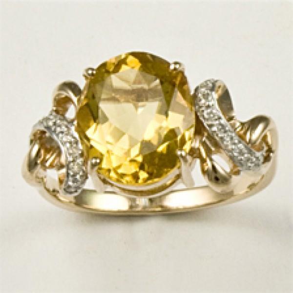Ювелирное кольцо из красного золота 585 пробы с цитрином и бриллиантами RCt-6280
