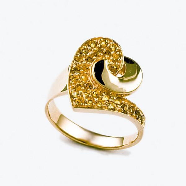 Ювелирное кольцо из красного золота 585 пробы с цитринами RCt-6451