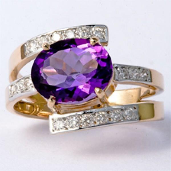 Ювелирное кольцо из красного золота 585 пробы с аметистом и бриллиантами RAm-6243