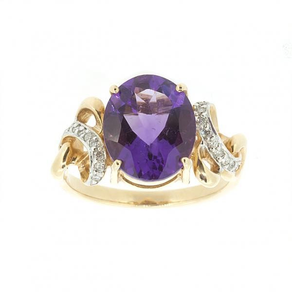 Ювелирное кольцо из красного золота 585 пробы с аметистом и бриллиантами RAm-6280