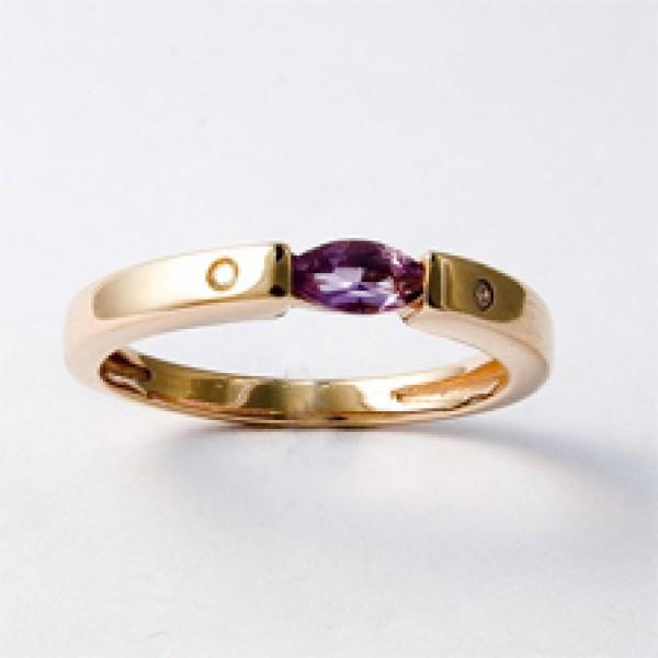 Ювелирное кольцо из красного золота 585 пробы с аметистом и бриллиантами RAm-6049