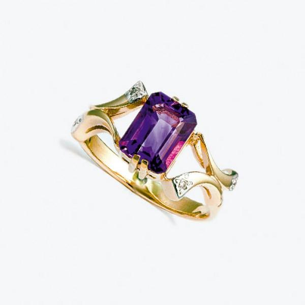 Ювелирное кольцо из красного золота 585 пробы с аметистом и бриллиантами RAm-6264