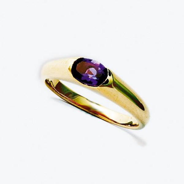Ювелирное кольцо из красного золота 585 пробы с аметистом RAm-15790