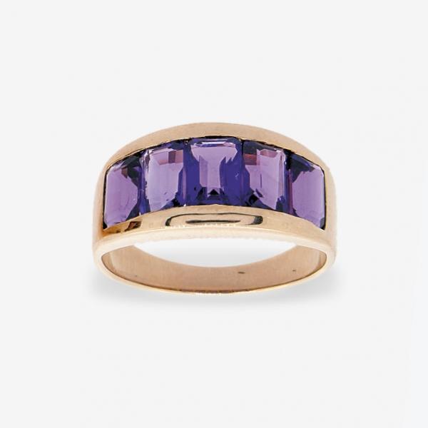 Ювелирное кольцо из красного золота 585 пробы с аметистами RAm-6247