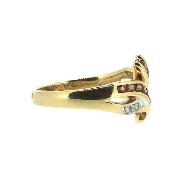Ювелирное кольцо из красного золота 585 пробы с гранатами и бриллиантами RGn-6116