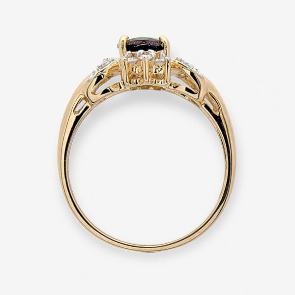 Ювелирное кольцо из красного золота 585 пробы с гранатом и бриллиантами RGn-1101