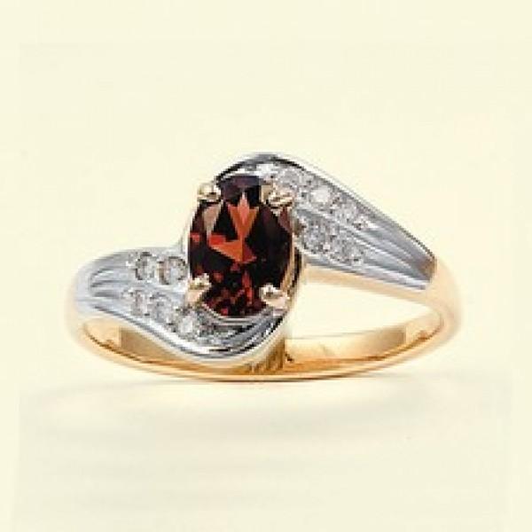 Ювелирное кольцо из красного золота 585 пробы с гранатом и бриллиантами RGn-6453