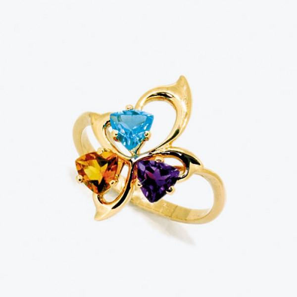 Ювелирное кольцо из красного золота 585 пробы с топазом, цитрином и аметистом RTCtAm-6617