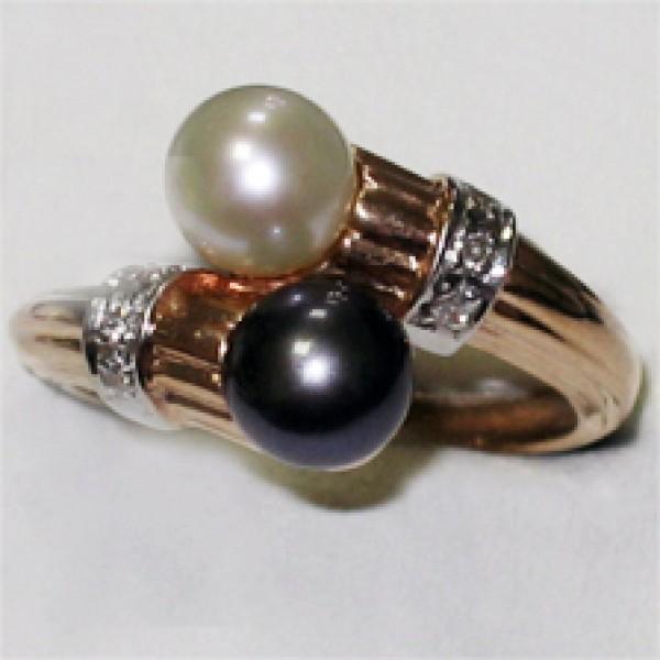 Ювелирное кольцо из красного золота 585 пробы с жемчугом и бриллиантами RP-35680