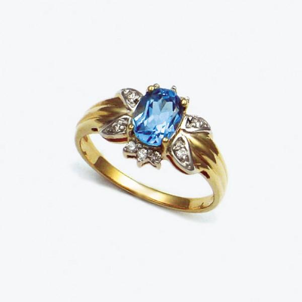 Ювелирное кольцо из красного золота 585 пробы с топазом и бриллиантами RT-1101