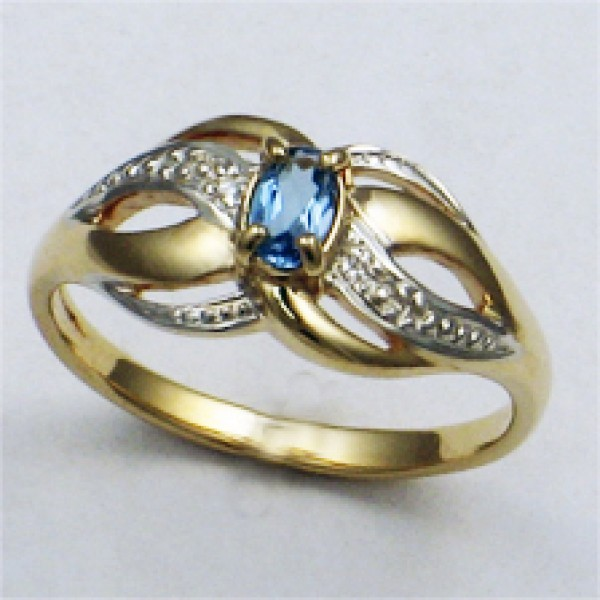 Ювелирное кольцо из красного золота 585 пробы с топазом и бриллиантами RT-6050