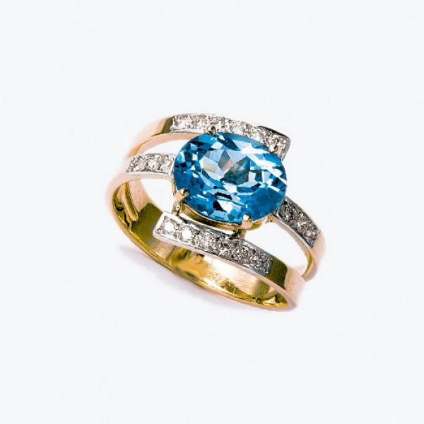 Ювелирное кольцо из красного золота 585 пробы с топазом и бриллиантами RT-6243