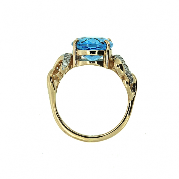 Ювелирное кольцо из красного золота 585 пробы с топазом и бриллиантами RT-6280