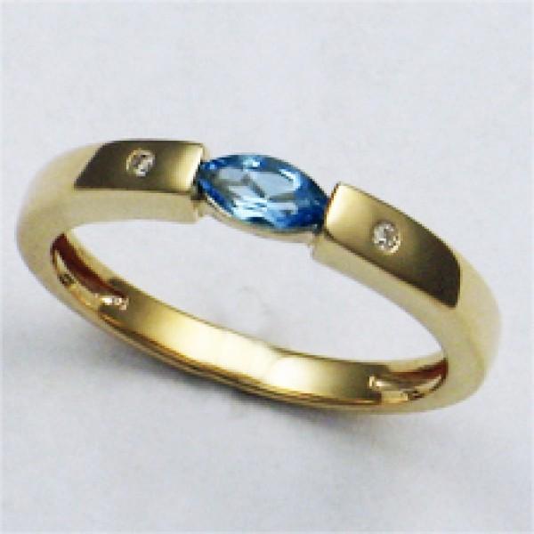Ювелирное кольцо из красного золота 585 пробы с топазом и бриллиантами RT-6049
