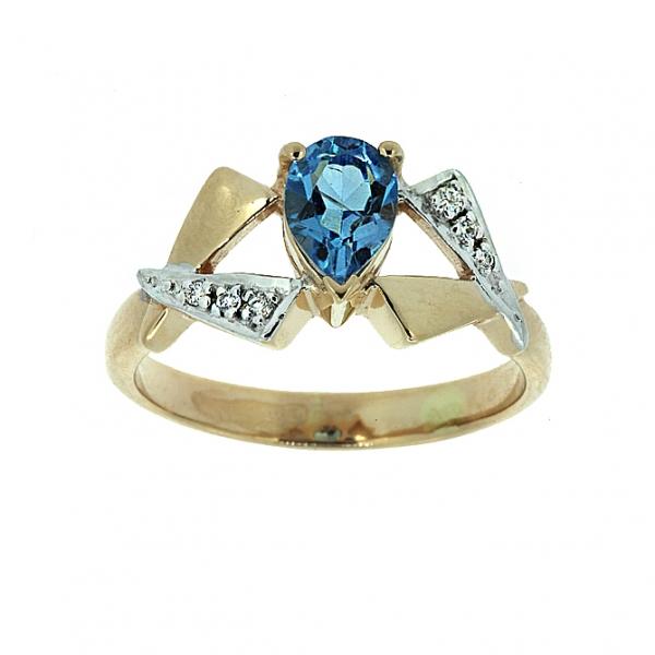 Ювелирное кольцо из красного золота 585 пробы с топазом и бриллиантами RT-6174