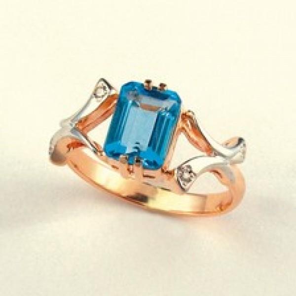 Ювелирное кольцо из красного золота 585 пробы с топазом и бриллиантами RT-6264