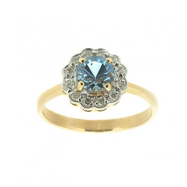 Ювелирное кольцо из красного золота 585 пробы с топазом и бриллиантами RT-6287