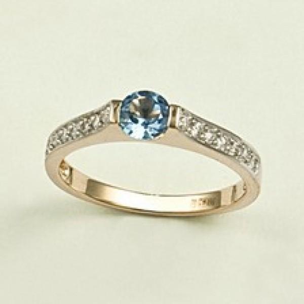 Ювелирное кольцо из красного золота 585 пробы с топазом и бриллиантами RT-6567