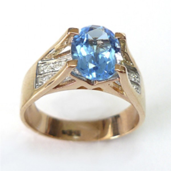 Ювелирное кольцо из красного золота 585 пробы с топазом и бриллиантами RT-6573