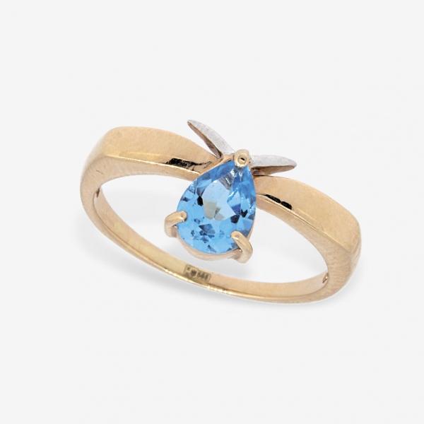 Ювелирное кольцо из красного золота 585 пробы с топазом RT-6018