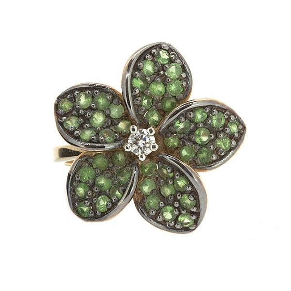 Ювелирное кольцо из красного золота 585 пробы с зелеными гранатами и бриллиантом RDtsav-6503