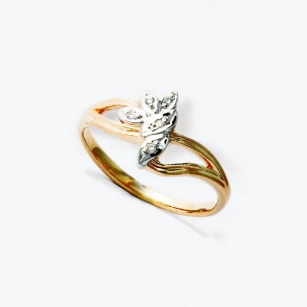 Ювелирное кольцо из красного золота 585 пробы с бриллиантами RD-1089