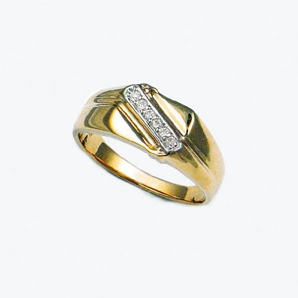 Ювелирное мужское кольцо из красного золота 585 пробы с бриллиантами RD-1094