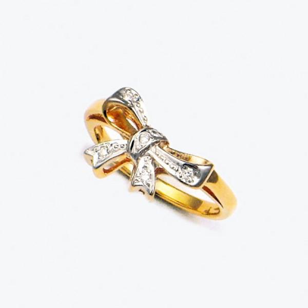Ювелирное кольцо из красного золота 585 пробы с бриллиантами RD-1105