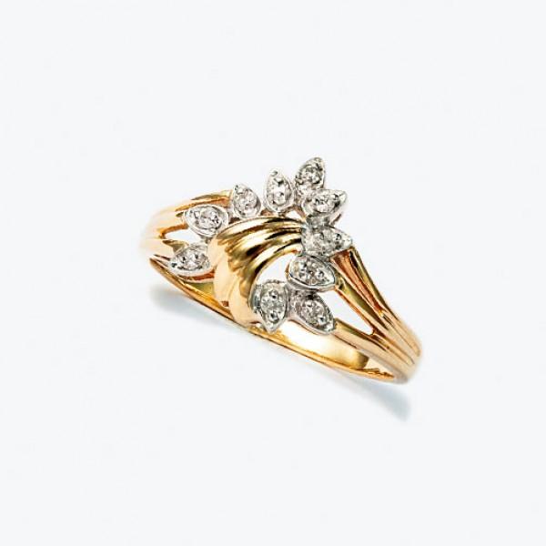 Ювелирное кольцо из красного золота 585 пробы с бриллиантами RD-1107