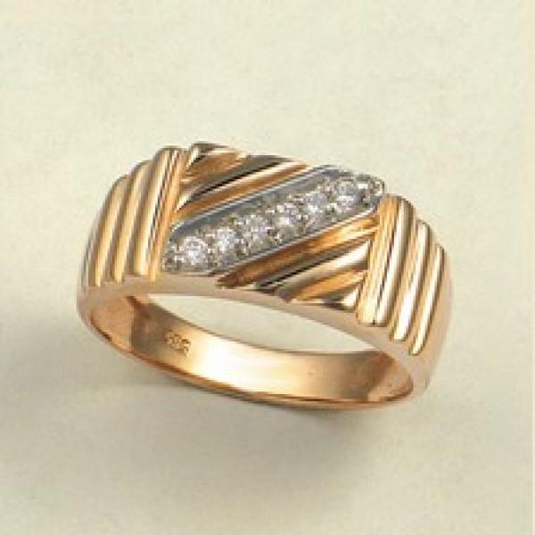 Ювелирное мужское кольцо из красного золота 585 пробы с бриллиантами RD-1410