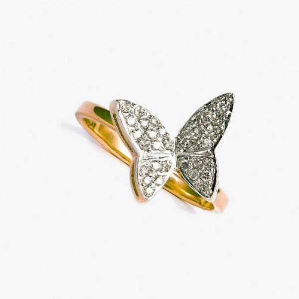Ювелирное кольцо из красного золота 585 пробы с бриллиантами RD-6181