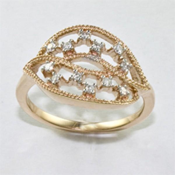 Ювелирное кольцо из красного золота 585 пробы с бриллиантами RD-6544