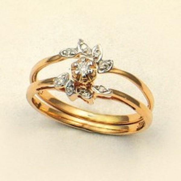 Ювелирное кольцо из красного золота 585 пробы с бриллиантами RD-9013