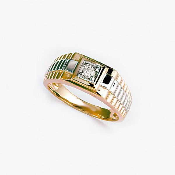 Ювелирное мужское кольцо из красного золота 585 пробы с бриллиантом RD-3671