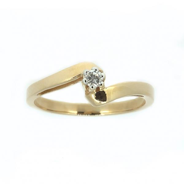 Ювелирное кольцо из красного золота 585 пробы с бриллиантом RD-7392