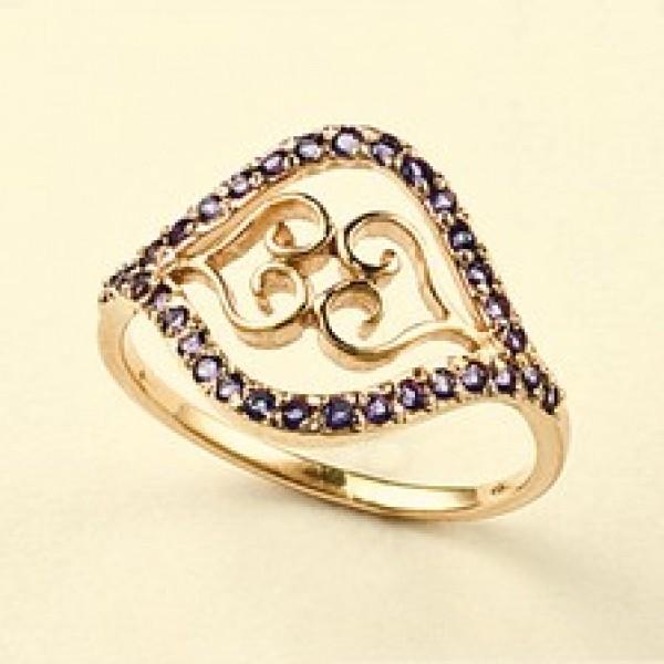 Ювелирное кольцо из красного золота 585 пробы с аметистами RAm-6460