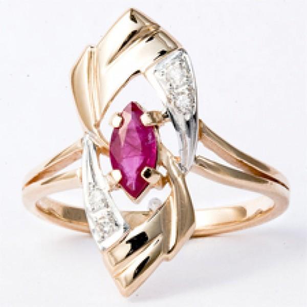 Ювелирное кольцо из красного золота 585 пробы с рубином и бриллиантами RR-6178