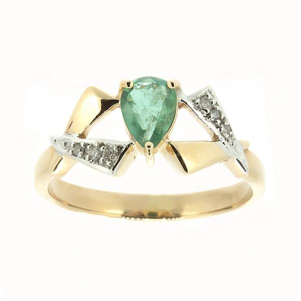 Ювелирное кольцо из красного золота 585 пробы с изумрудом и бриллиантами RE-6174