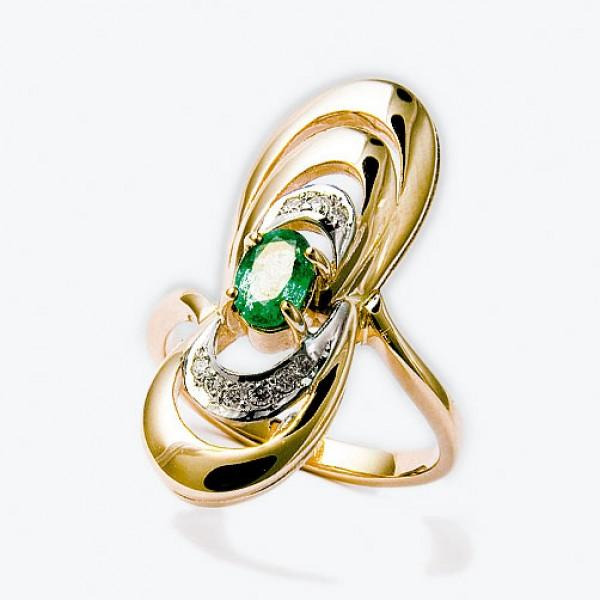 Ювелирное кольцо из красного золота 585 пробы с изумрудом и бриллиантами RE-6270