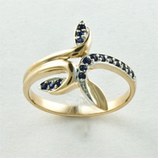 Ювелирное кольцо из красного золота 585 пробы с сапфирами RS-6545