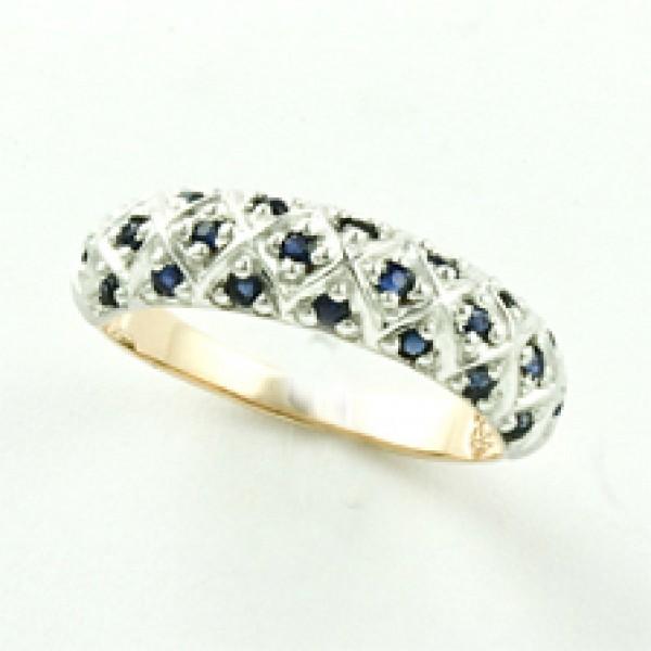 Ювелирное кольцо из красного золота 585 пробы с сапфирами RS-6562