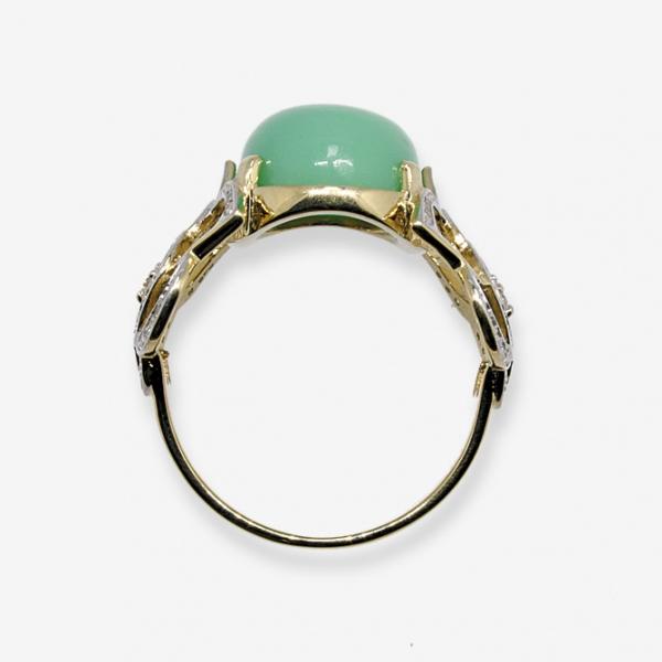 Ювелирное кольцо из жёлтого золота 585 пробы с хризопразом и бриллиантами RChr-6515y